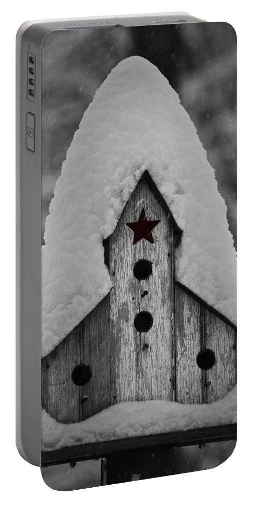 Snow Portable Battery Charger featuring the photograph Snow Covered Birdhouse by Teresa Mucha