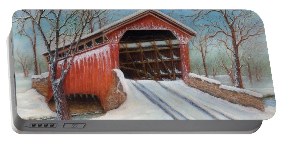 Bridge Portable Battery Charger featuring the painting Snow Covered Bridge by Lora Duguay