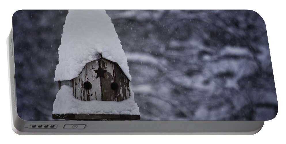 Birdhouse Portable Battery Charger featuring the photograph Snow Covered Elf Birdhouse by Teresa Mucha