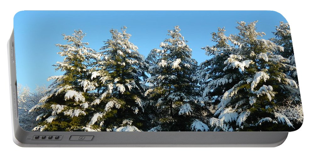 Snow Portable Battery Charger featuring the photograph Snow Covered Trees by Arlane Crump