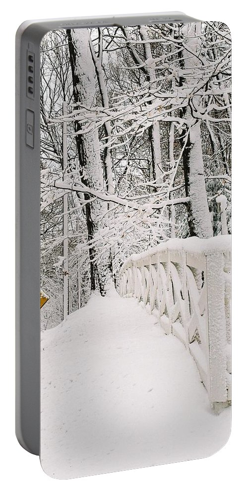 Fence Portable Battery Charger featuring the photograph Snow Curve by Lauri Novak