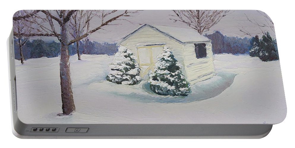 Snow Scene Portable Battery Charger featuring the painting Snow Drifts by Lea Novak