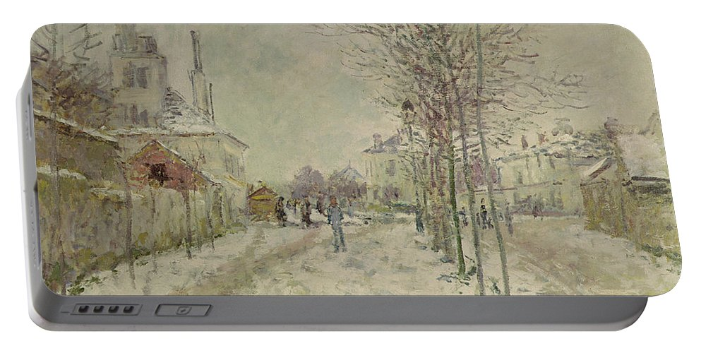 Snow Effect Portable Battery Charger featuring the painting Snow Effect by Claude Monet