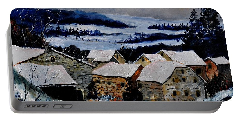 Landscape Portable Battery Charger featuring the painting Snow In Ardennes 79 by Pol Ledent