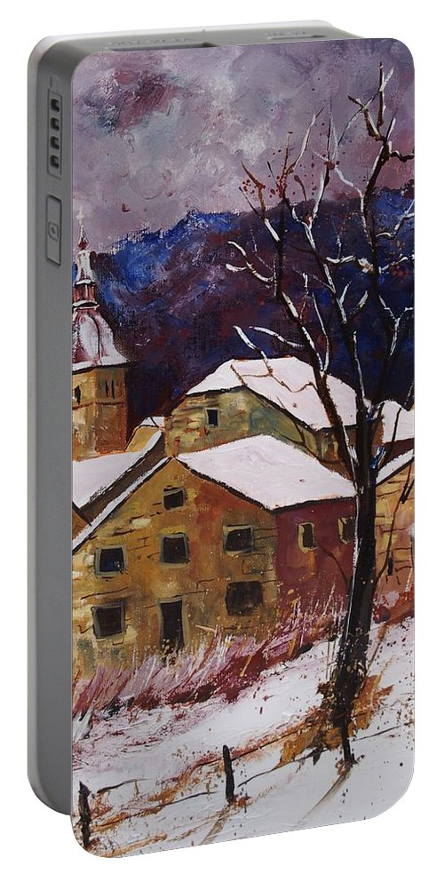 Landscape Portable Battery Charger featuring the painting Snow In Chassepierre by Pol Ledent