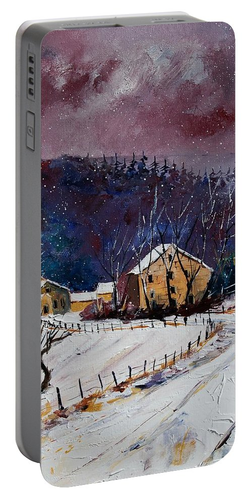 Landscape Portable Battery Charger featuring the painting Snow In Sechery by Pol Ledent