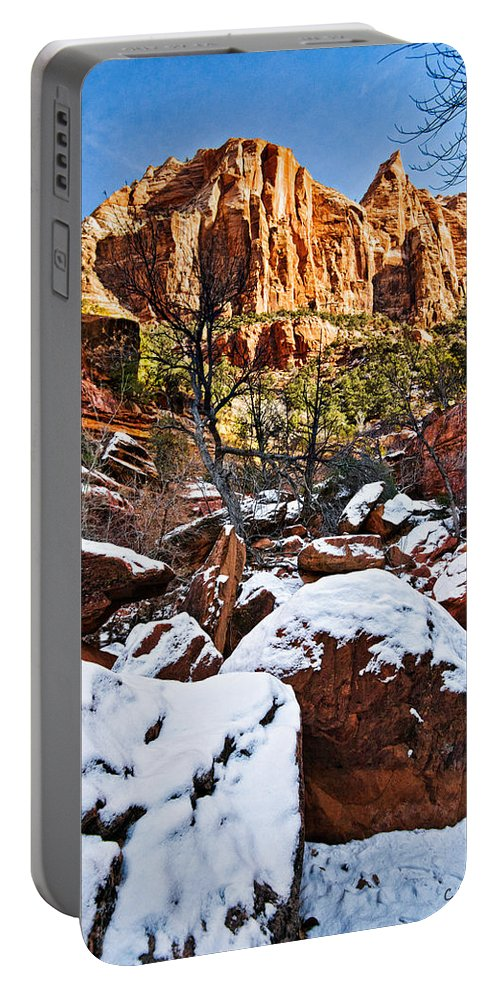 Mountain Portable Battery Charger featuring the photograph Snow In The Canyons by Christopher Holmes
