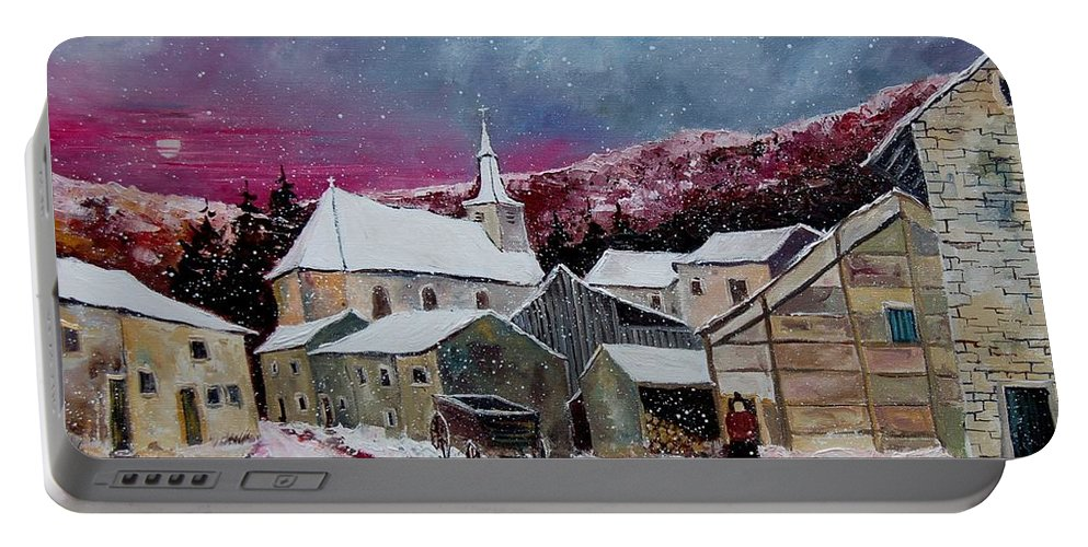 Snow Portable Battery Charger featuring the painting Snow Is Falling by Pol Ledent