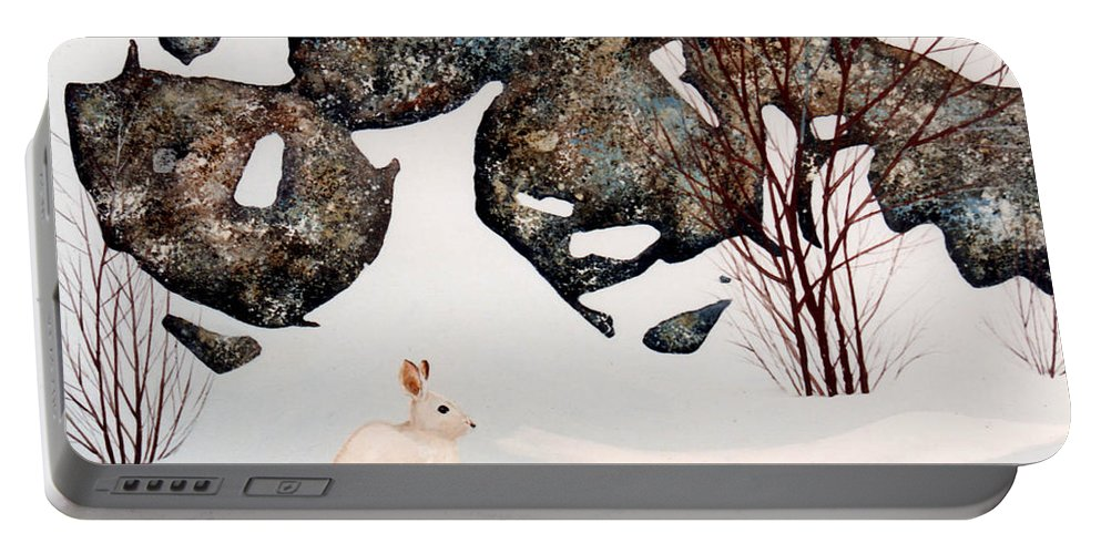 Wildlife Portable Battery Charger featuring the painting Snow Ledges Rabbit by Frank Wilson