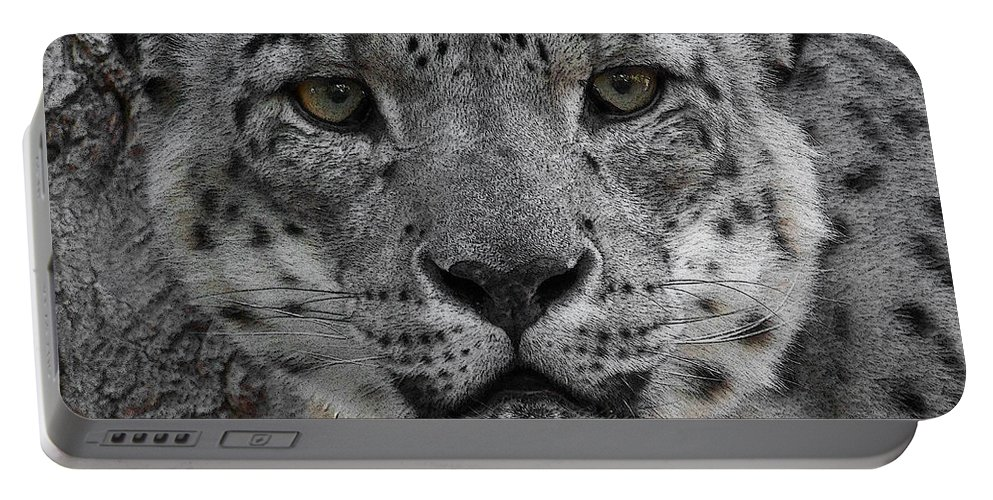 Animals Portable Battery Charger featuring the photograph Snow Leopard 5 Posterized by Ernie Echols