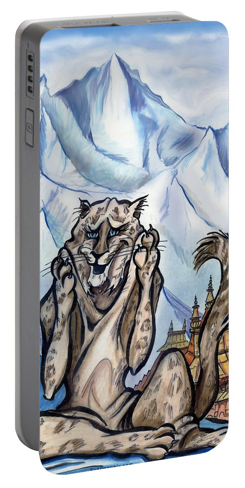Ice Portable Battery Charger featuring the painting Snow Leopard by Kevin Middleton