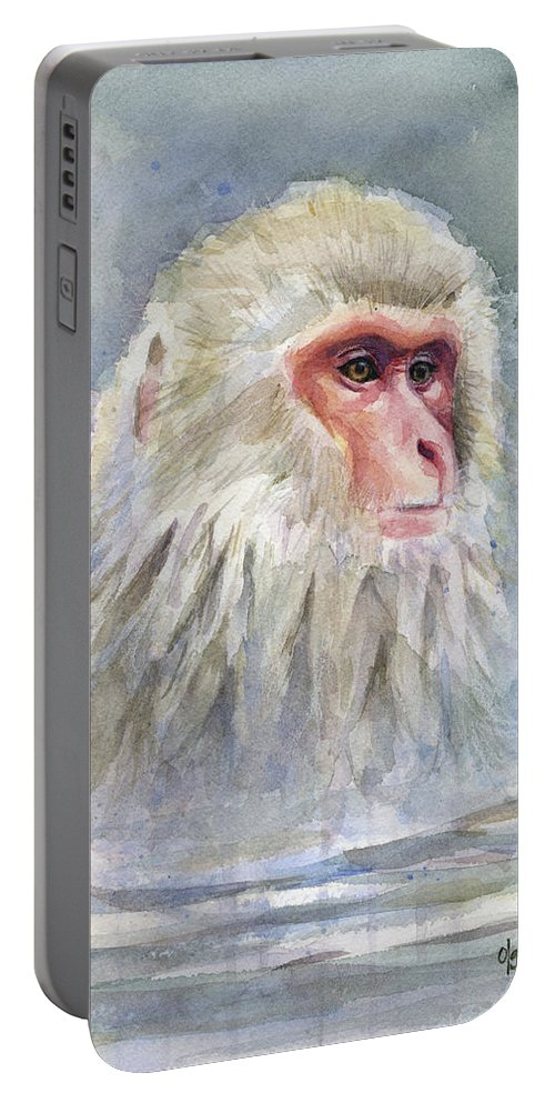 Snow Portable Battery Charger featuring the painting Snow Monkey Taking A Bath by Olga Shvartsur
