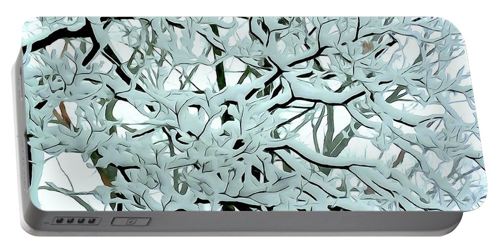 Photo Painting Portable Battery Charger featuring the digital art Snow On Branches by Ed Weidman