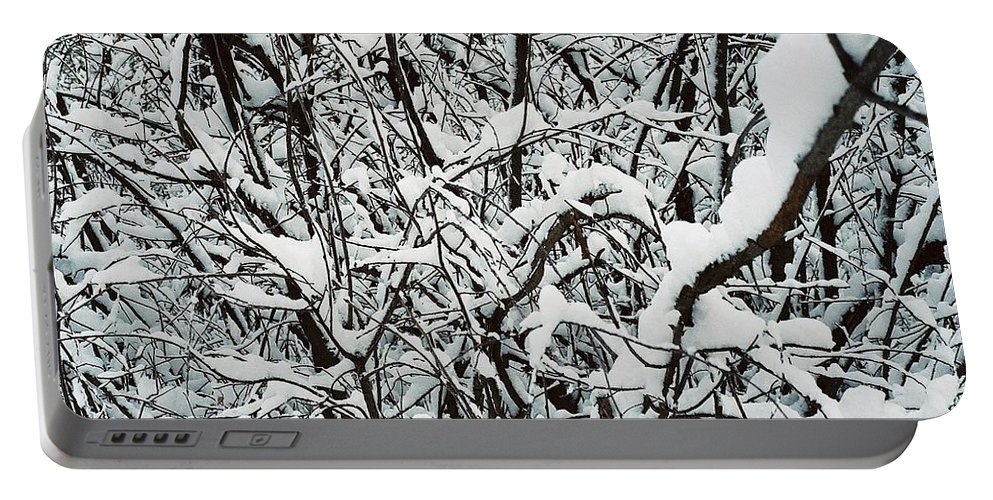 Abstract Portable Battery Charger featuring the photograph Snow On Branches by Ric Bascobert