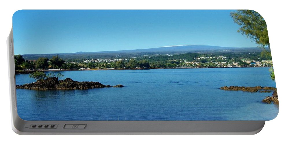Hilo Bay Portable Battery Charger featuring the photograph Snow On Mauna Loa by Dina Holland
