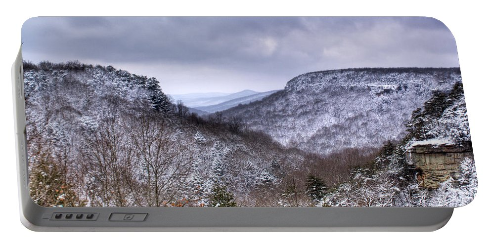 Cumberland Portable Battery Charger featuring the photograph Snow On The Mesa by Douglas Barnett