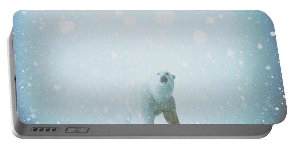 Polar Bear Winter Snow Predator Cold Portable Battery Charger featuring the digital art Snow Patrol by Katherine Smit