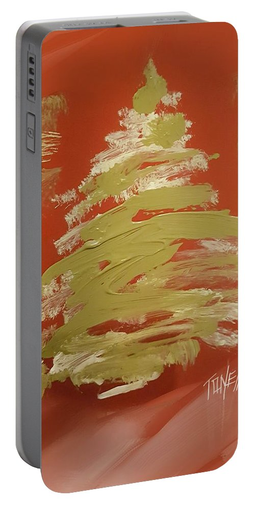 Pine Trees Portable Battery Charger featuring the painting Snow Pines by Mark Tonelli