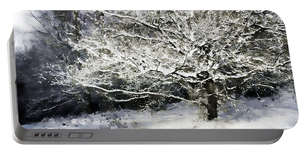 Snow Portable Battery Charger featuring the digital art Snow Tree by Ann Garrett