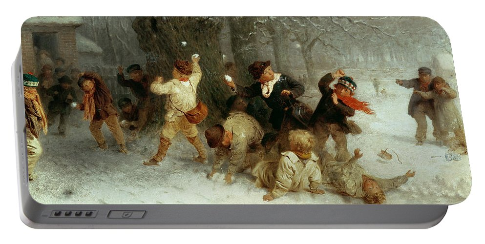 Snowballing Portable Battery Charger featuring the painting Snowballing by John Morgan
