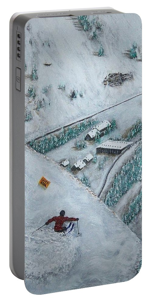 Ski Portable Battery Charger featuring the painting Snowbird Steeps by Michael Cuozzo