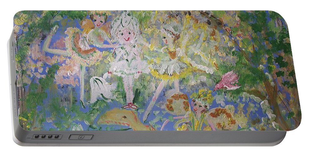 Snowdrop Portable Battery Charger featuring the painting Snowdrop The Fairy And Friends by Judith Desrosiers