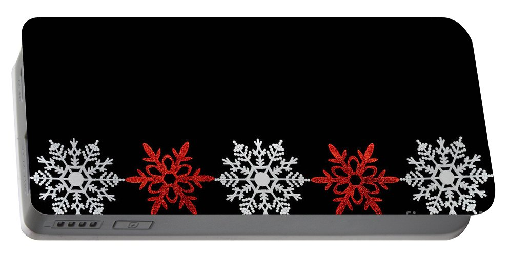 Christmas Portable Battery Charger featuring the photograph Snowflakes In A Row by Diane Macdonald