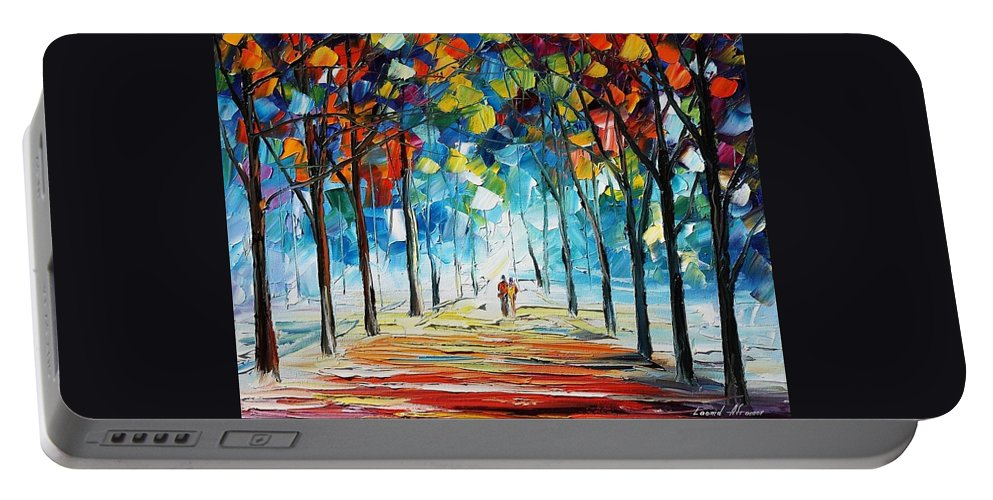 Afremov Portable Battery Charger featuring the painting Snowing Alley by Leonid Afremov