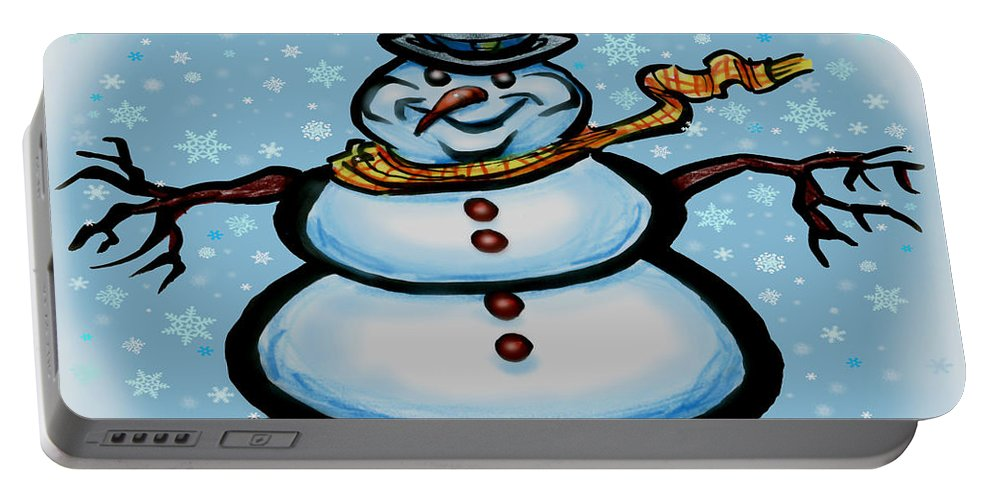 Snowman Portable Battery Charger featuring the greeting card Snowman by Kevin Middleton