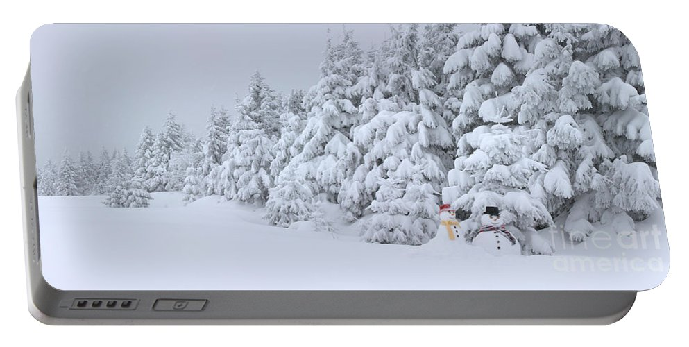 Snowman Portable Battery Charger featuring the photograph Snowmen In France by Jean-Louis Klein & Marie-Luce Hubert