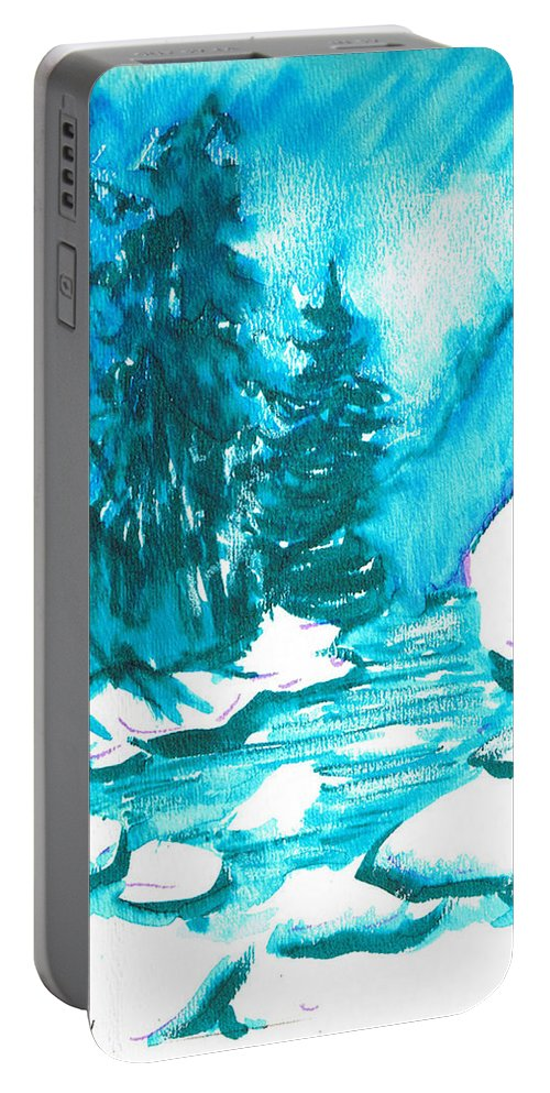 Chilling Portable Battery Charger featuring the mixed media Snowy Creek Banks by Seth Weaver