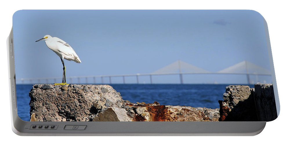 Panoramic Photography Portable Battery Charger featuring the photograph Snowy Egret And Sunshine Skyway Bridge by David Lee Thompson