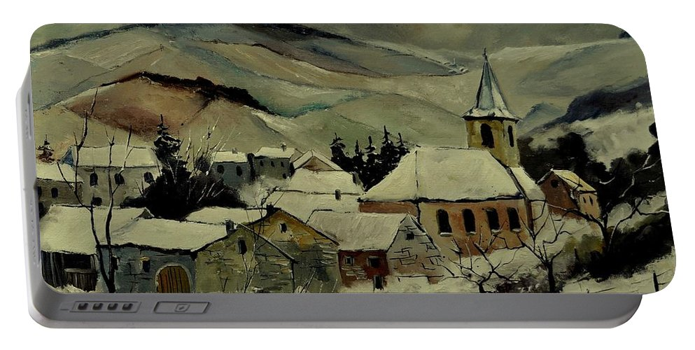 Landscape Portable Battery Charger featuring the painting Snowy Landscape 780121 by Pol Ledent