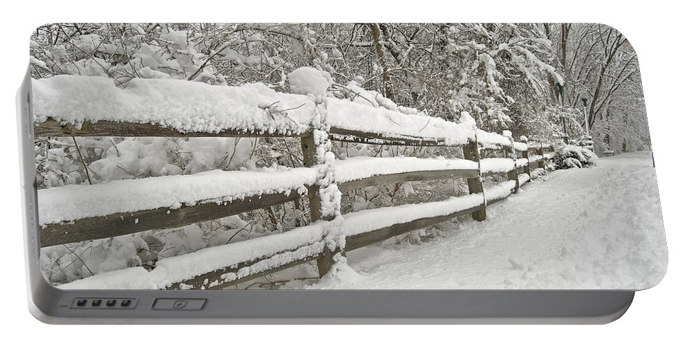 Beautiful Portable Battery Charger featuring the photograph Snowy Morning by Michael Peychich