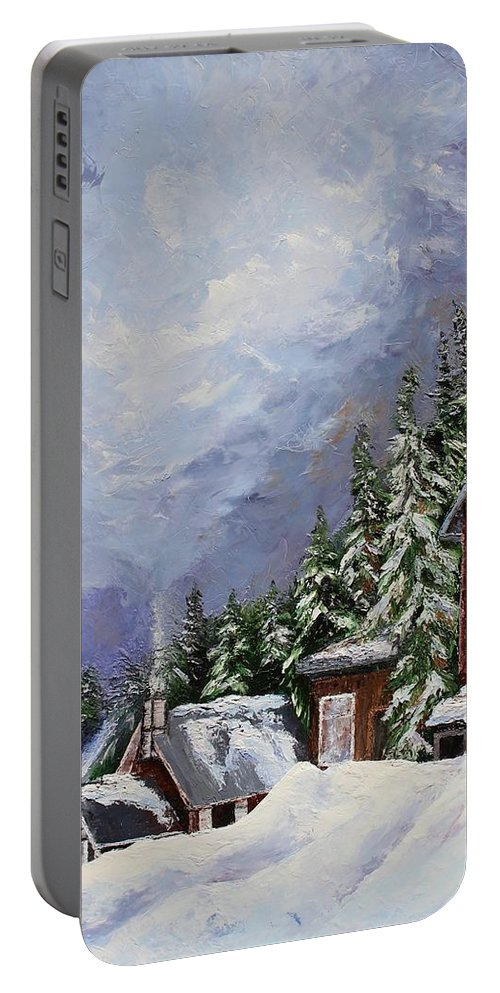 Snoqualmie Pass Portable Battery Charger featuring the painting Snowy Mountain Resort by Rebecca Hauschild