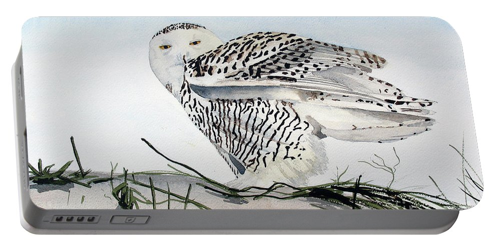 Snowy Owl Portable Battery Charger featuring the painting Snowy Owl by Barry Levy