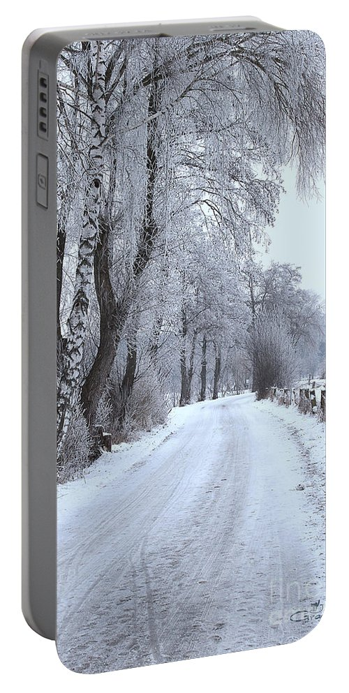 Path Portable Battery Charger featuring the photograph Snowy Path by Jutta Maria Pusl