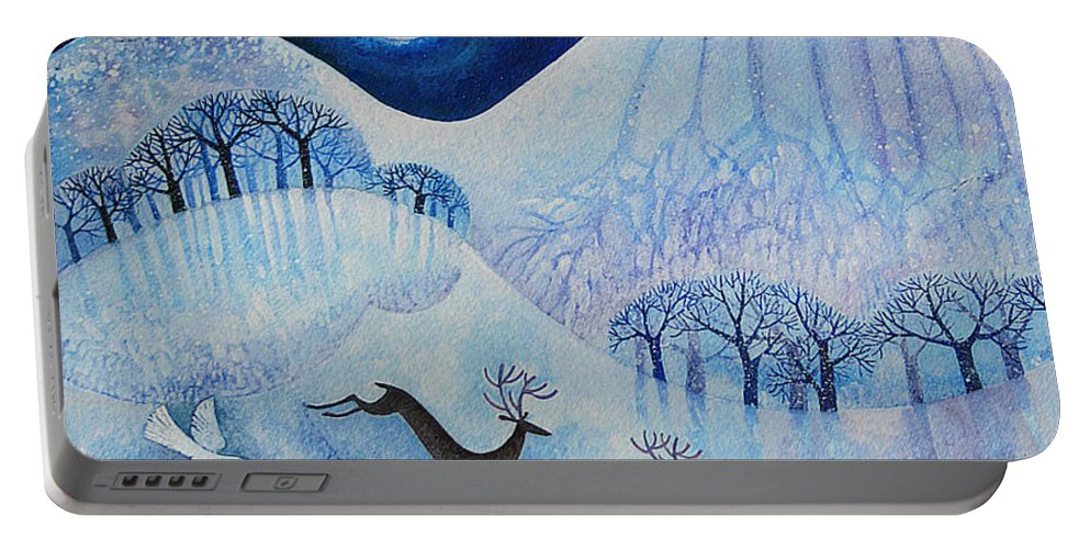 Snowy Portable Battery Charger featuring the painting Snowy Peace by Lisa Graa Jensen