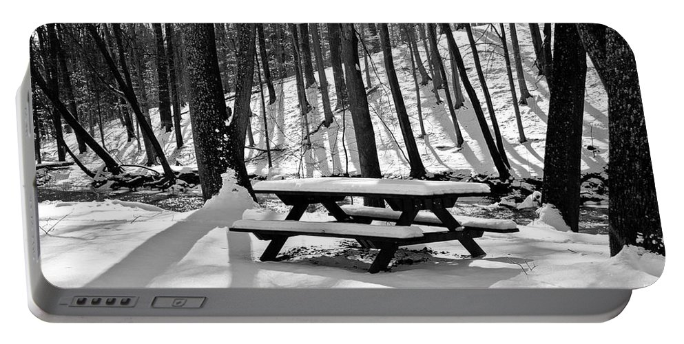 Nature Portable Battery Charger featuring the photograph Snowy Picnic Table In Black And White by Robin Lynne Schwind