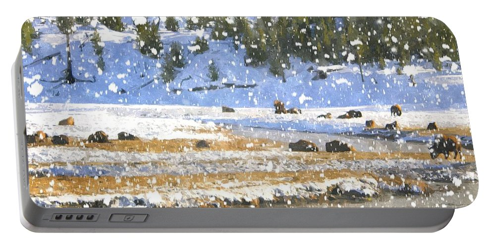 Yellowstone Portable Battery Charger featuring the photograph Snowy River by Image Takers Photography LLC - Carol Haddon