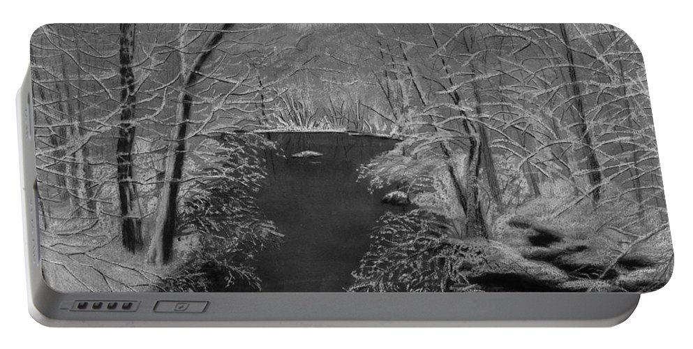 Black And White Portable Battery Charger featuring the painting Snowy River by Lynn Quinn