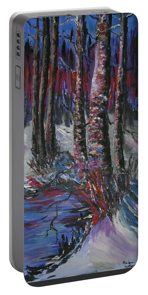 Snowy Aspen Portable Battery Charger featuring the painting Snowy Sunset by Marilyn Quigley