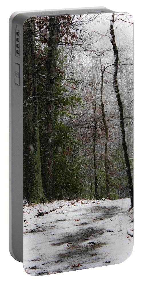 Snow Portable Battery Charger featuring the photograph Snowy Trail Quantico National Cemetery by Teresa Mucha