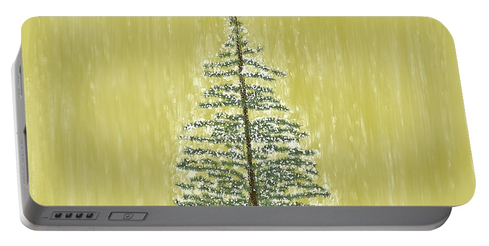 Tree Portable Battery Charger featuring the digital art Snowy Tree by Peggy Blackwell