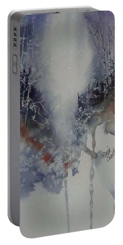 Snow Portable Battery Charger featuring the painting Snowy Web Trees by Renee Chastant