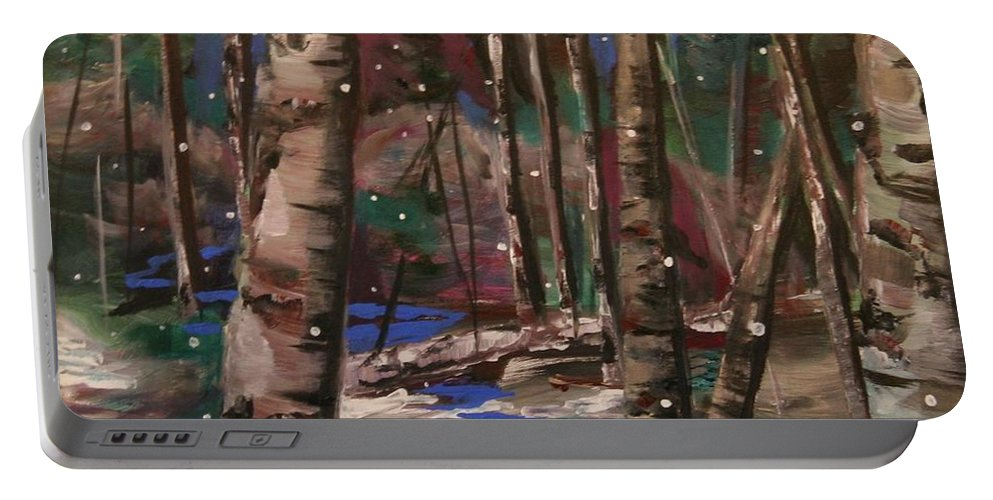 Snowy Landscape Portable Battery Charger featuring the painting Snowy Woods by Marilyn Quigley