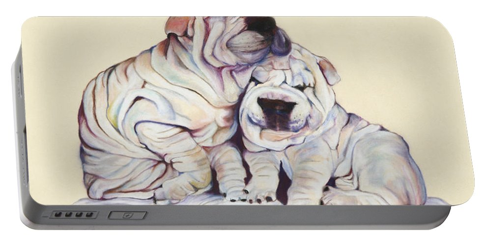 Dog Painting Portable Battery Charger featuring the pastel Snuggles by Pat Saunders-White
