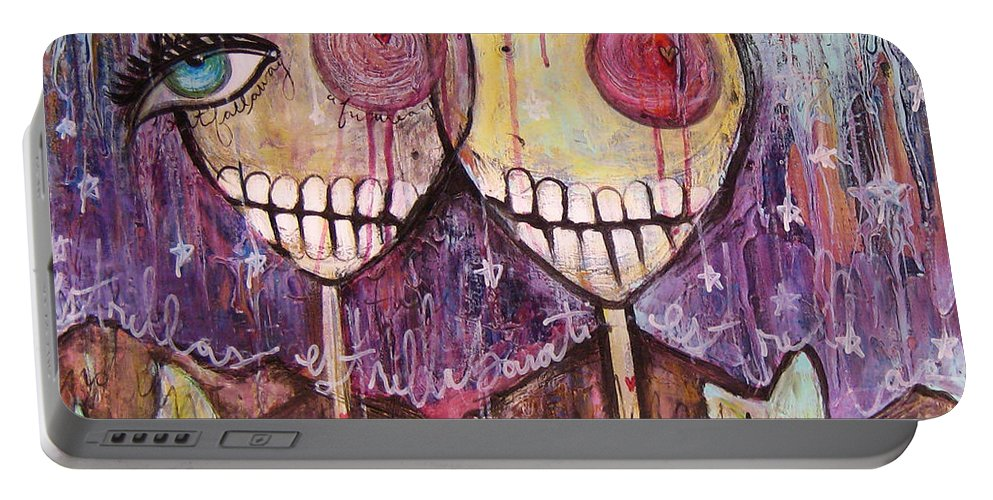 Skulls Portable Battery Charger featuring the painting So This Is The New Year Estrellas And All by Laurie Maves ART