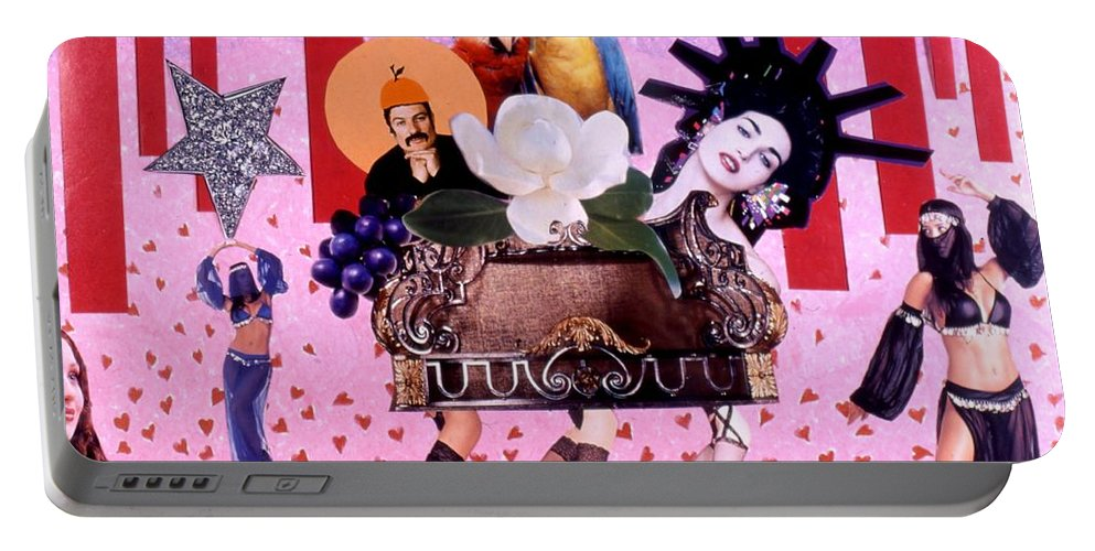 Collage Portable Battery Charger featuring the drawing Soap Scene # 28 You Have Seen That Movie Too by Minaz Jantz