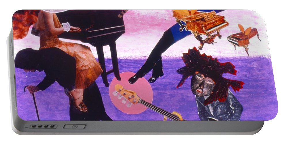 Grand Piano Portable Battery Charger featuring the drawing Soap Scene #21 Beggar Belief by Minaz Jantz